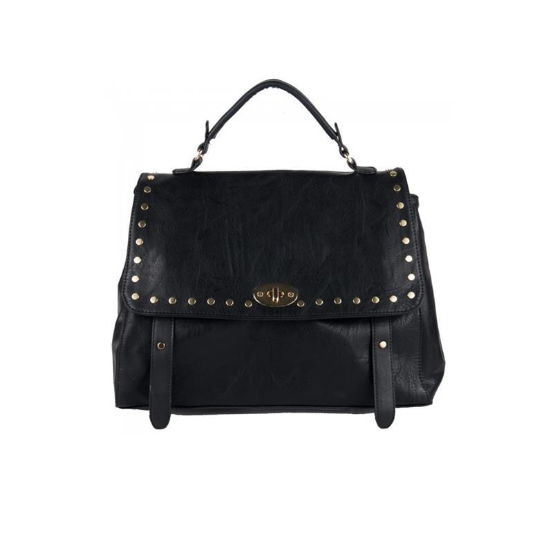 borsa in ecopelle nera con borchie e patta