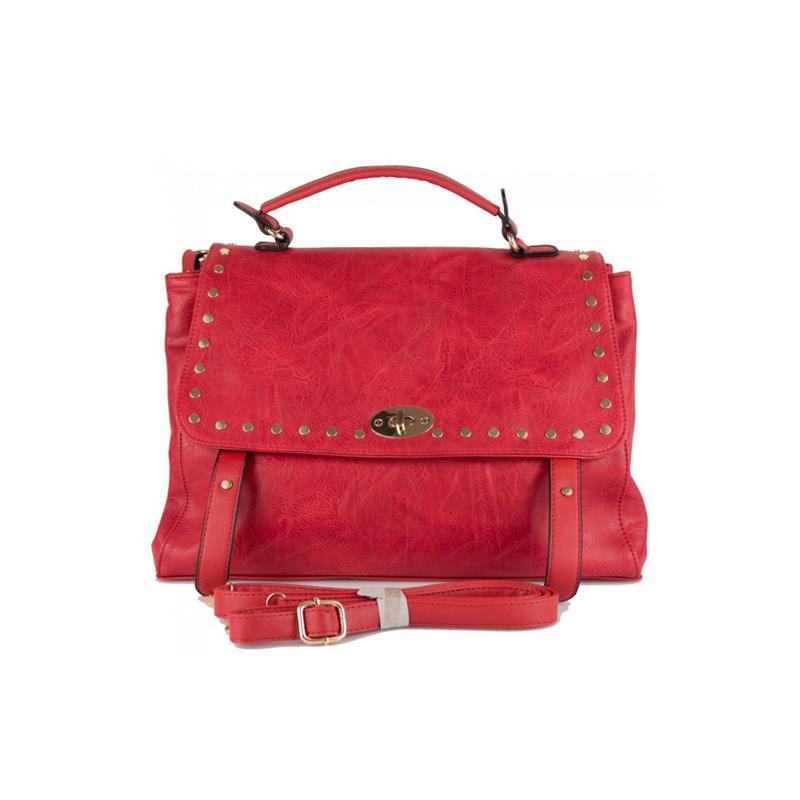 borsa in ecopelle rossa con borchie e patta