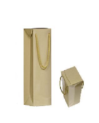 shopper in carta patinata oro plastificazione lucida manico cotone