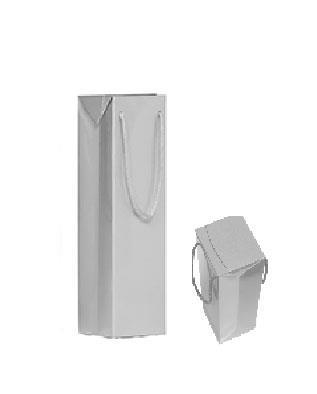 shopper in carta patinata argento plastificazione lucida manico cotone