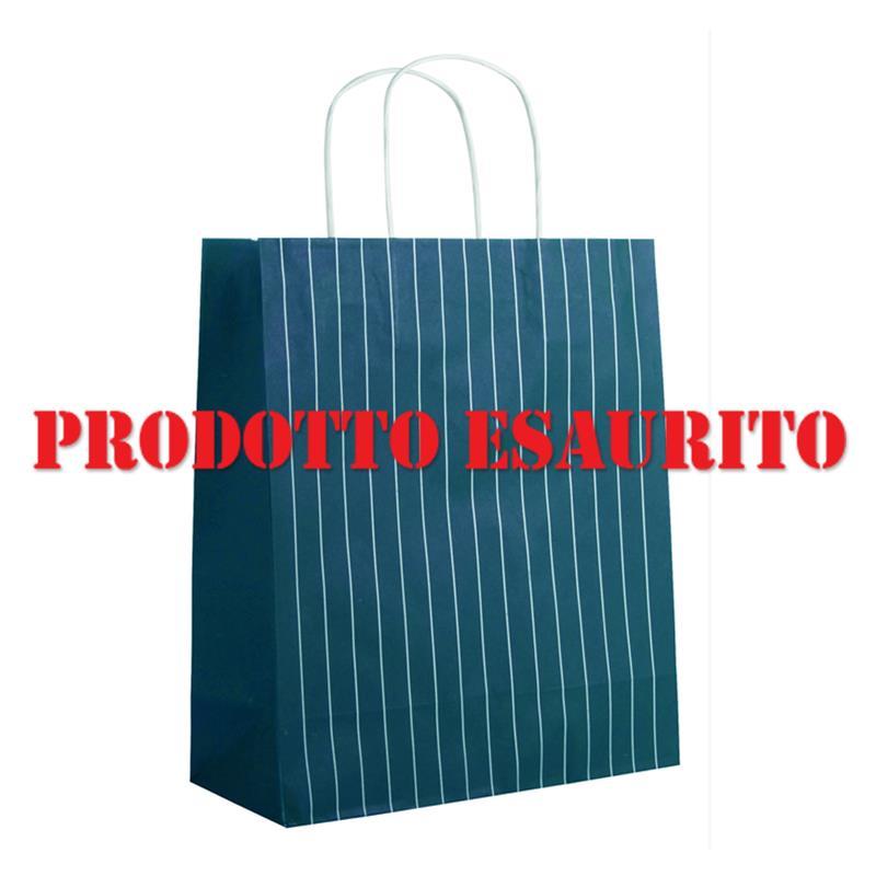 shopper in carta riciclata ottanio con righe manico cordino