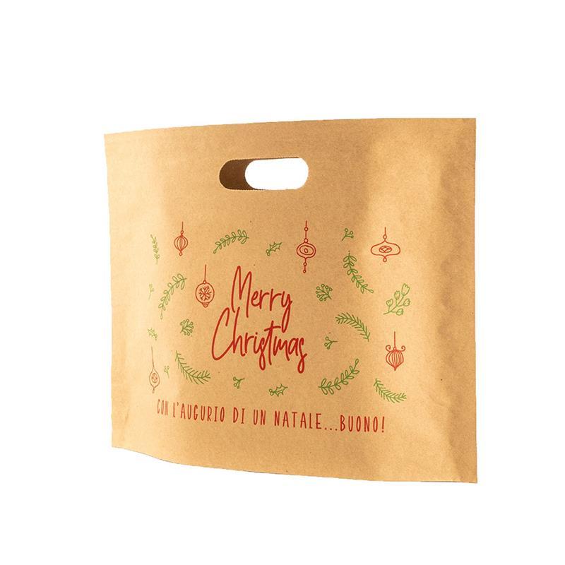 sacchetti in carta avana natalizia con manico fustellato all'interno.