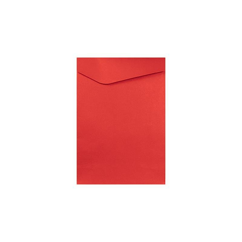 busta in kraft rossa goffratura righe orizzontali pattella asimmetrica