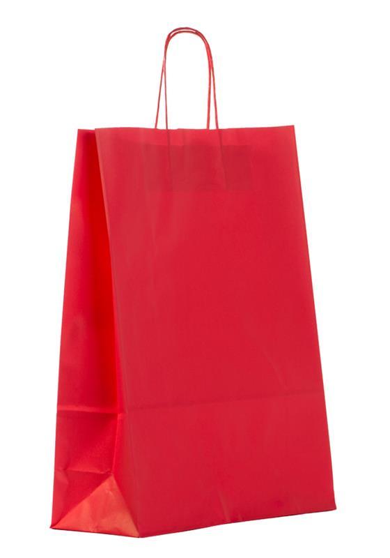 shopper in carta kraft rosso manico cordino