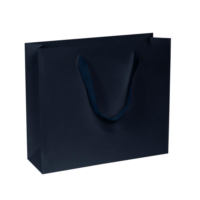 shopper in carta kraft blu scuro manico fettuccia quadra
