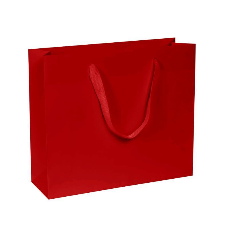 shopper in carta kraft rosso manico fettuccia quadra