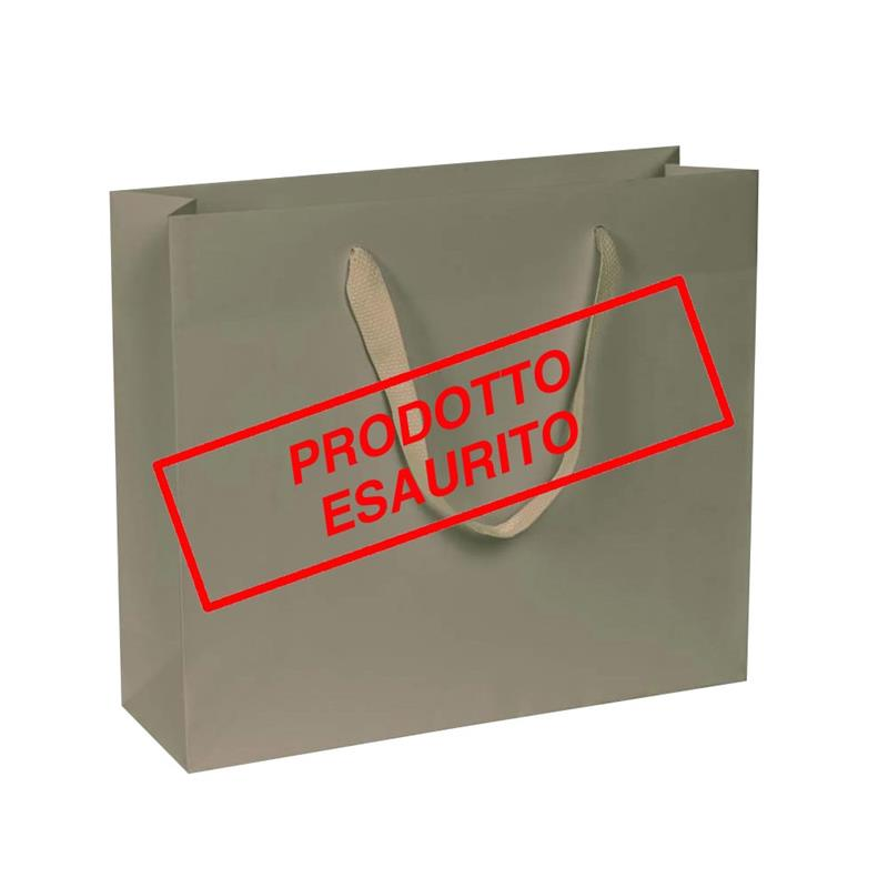 shopper in carta kraft beige manico fettuccia quadra