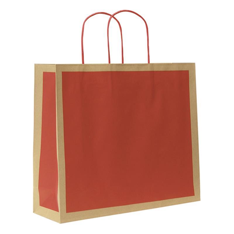 shopper in carta riciclata avana riquadro rosso manico cordino