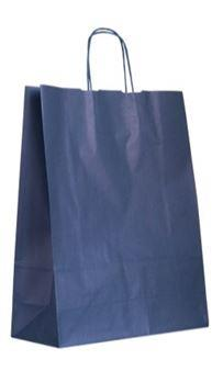 shopper in carta kraft blu scuro manico cordino