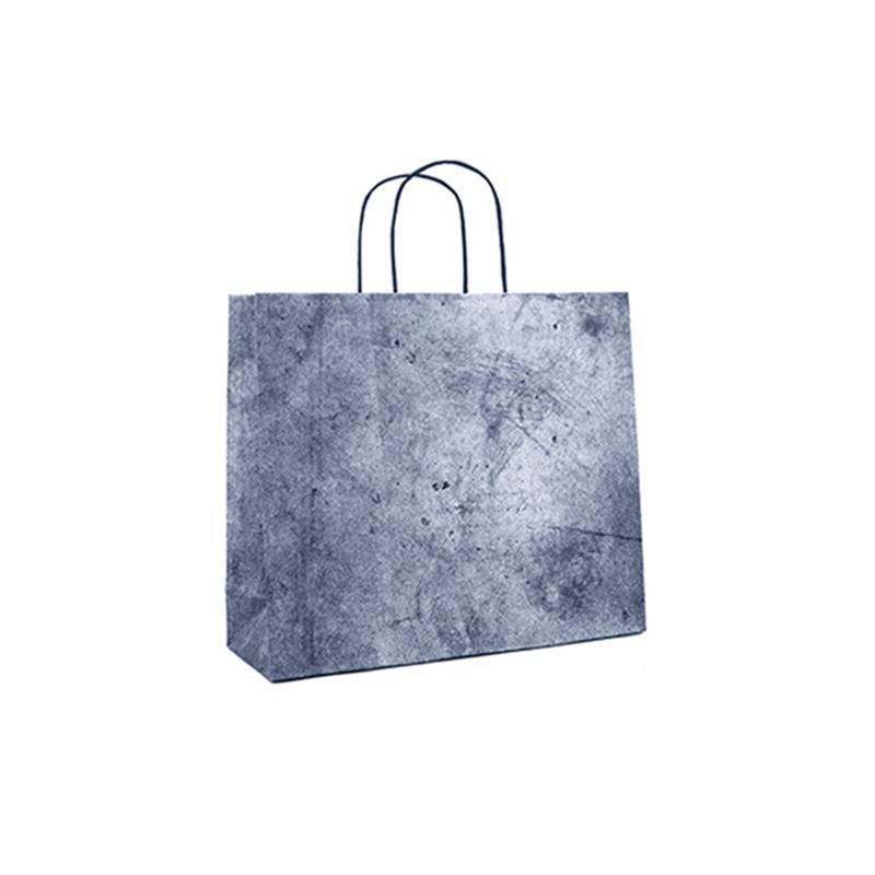 shopper in carta riciclata blu risvolto superiore cordino ritorto