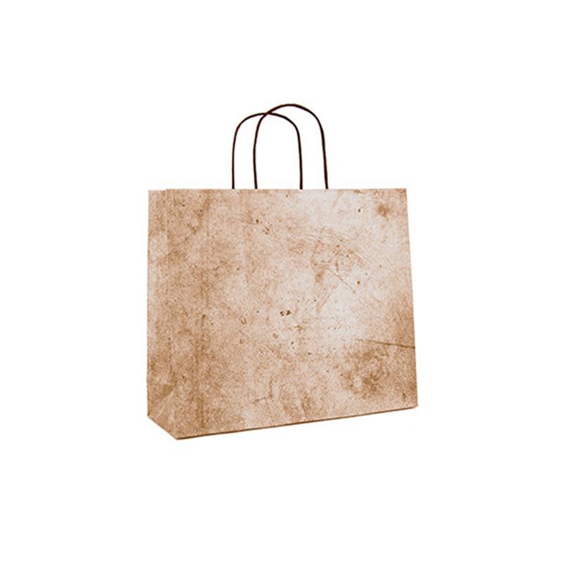 shopper in carta riciclata beige risvolto superiore cordino ritorto