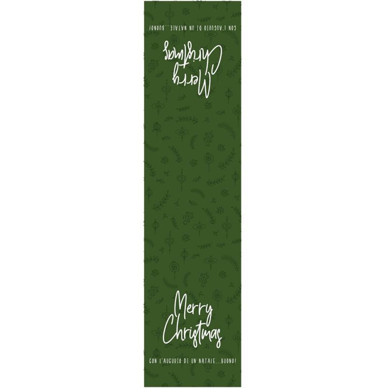 etichette chiudibusta natalizie verde stampa merry christmas (50 pz.)