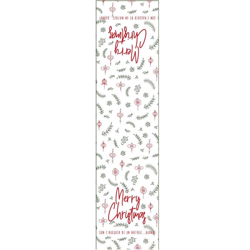 etichette chiudibusta natalizie bianco stampa merry christmas (50 pz.)