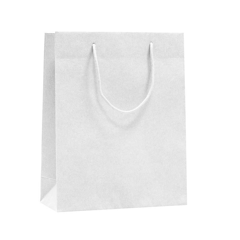 shopper in carta sealing bianco lato liscio manico cotone