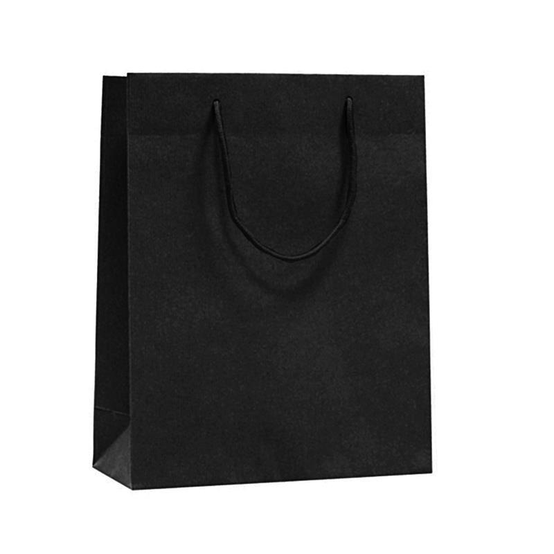 shopper in carta riciclata nero manico cotone