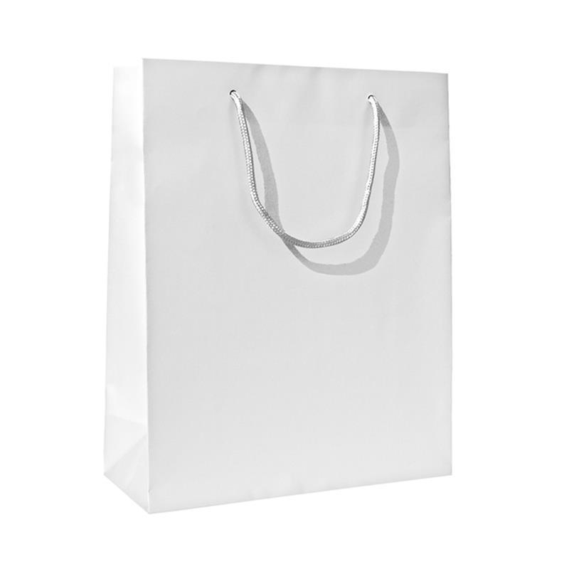 shopper in carta patinata bianco perlato manico cotone
