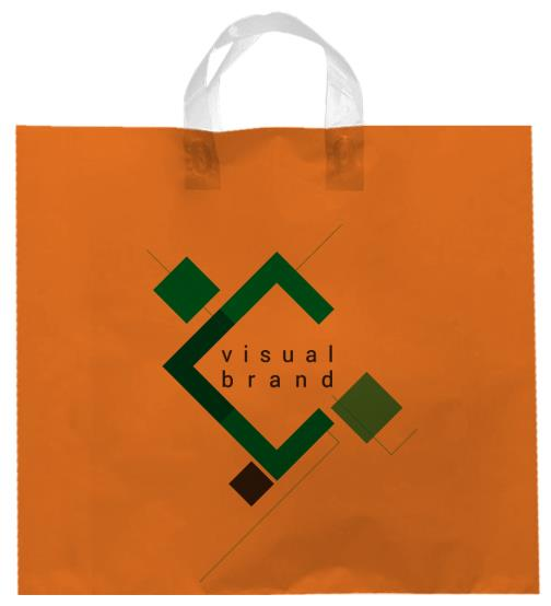 shopper plastica arancio con manico flexi senza soffietti laterali