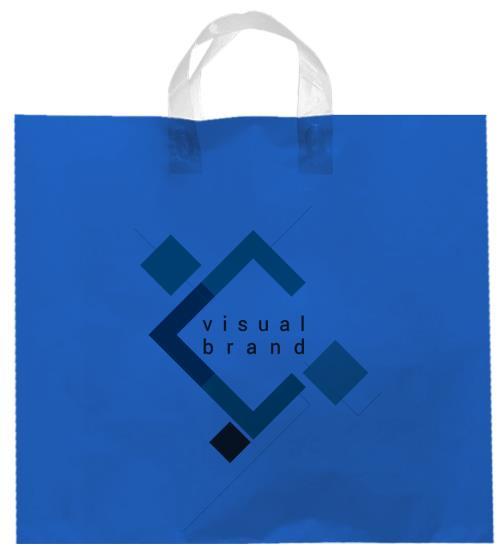 shopper plastica azzurro con manico flexi senza soffietti laterali