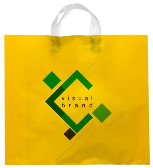 shopper plastica giallo con manico flexi senza soffietti laterali