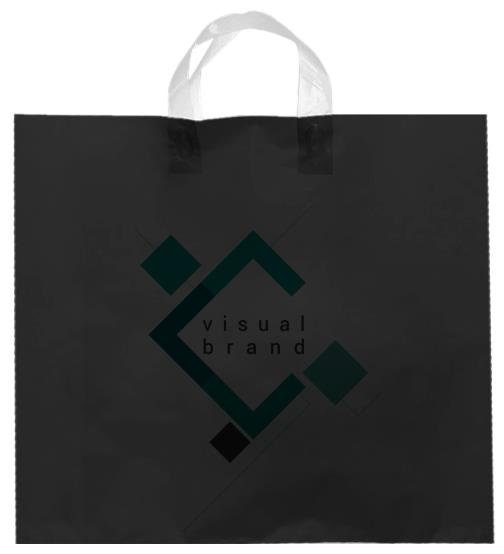 shopper plastica nero con manico flexi senza soffietti laterali
