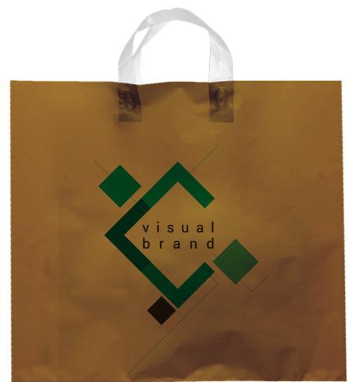 shopper plastica oro con manico flexi senza soffietti laterali