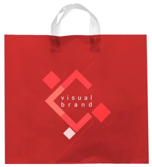 shopper plastica rossa con manico flexi senza soffietti laterali