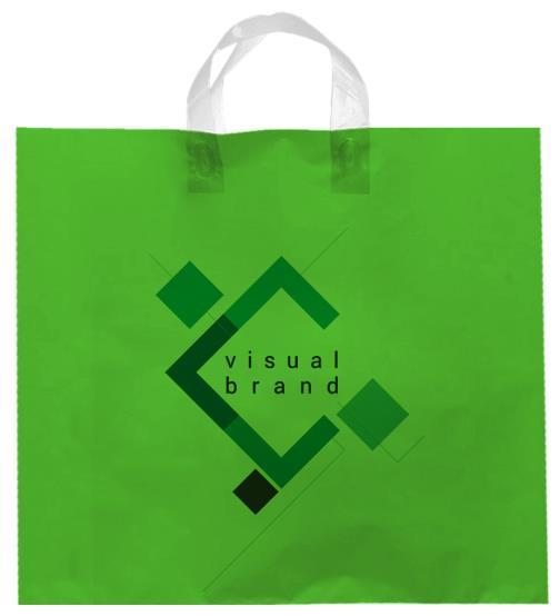 shopper plastica verde con manico flexi senza soffietti laterali