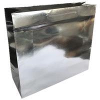 shopper in carta monopatinata goffratura argento metal corda cotone