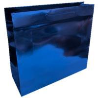 shopper in carta monopatinata goffratura blu metal corda cotone