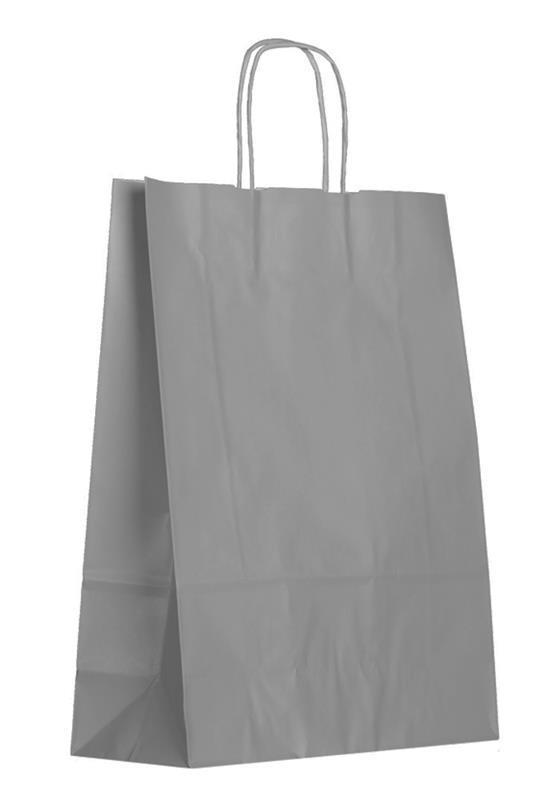 shopper in carta kraft grigia manico cordino