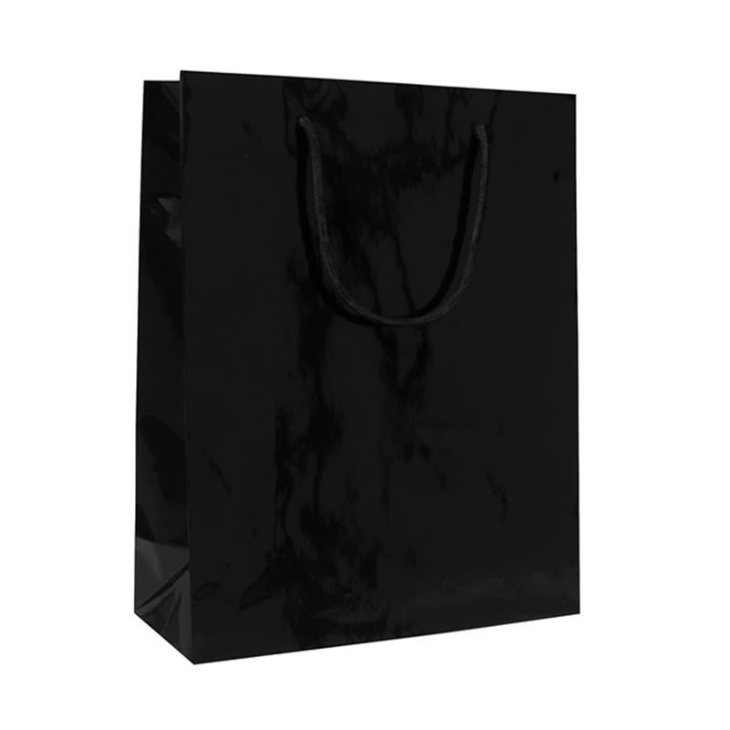 shopper in carta patinata nero lucido manico cotone
