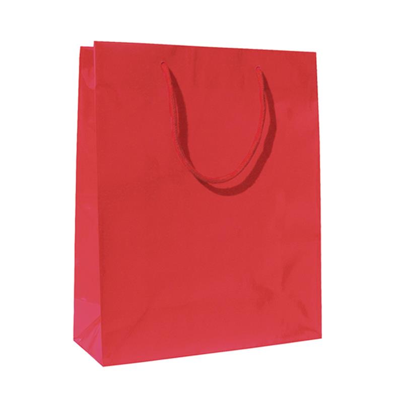 shopper in carta patinata rosso lucido manico cotone