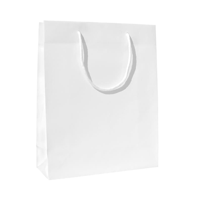 shopper in carta patinata bianco lucido manico cotone