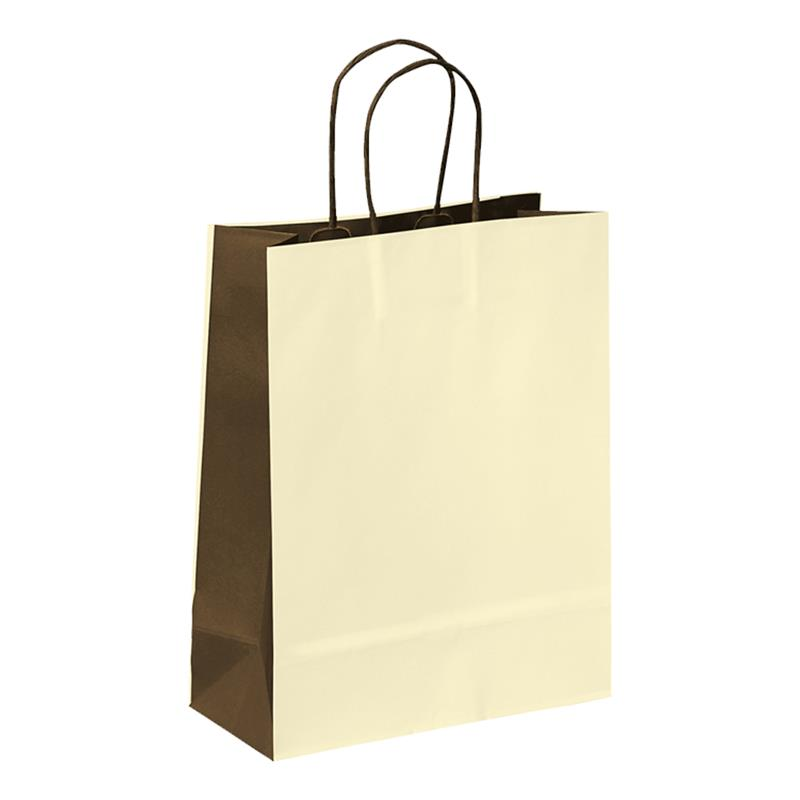 shopper in carta kraft beige-marrone manico cordino