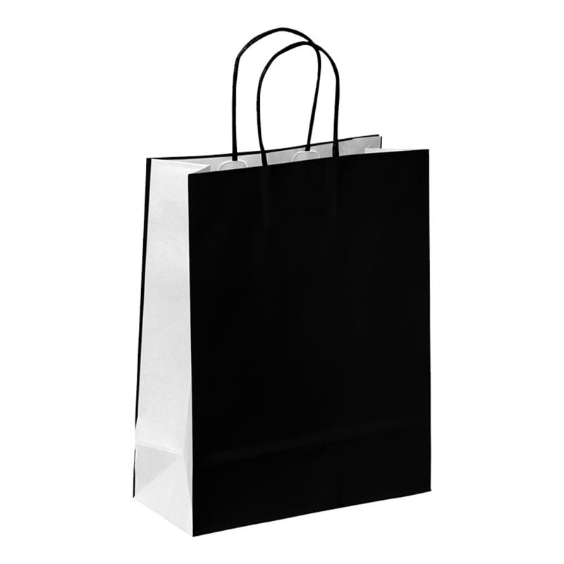 shopper in carta kraft nero- bianco manico cordino