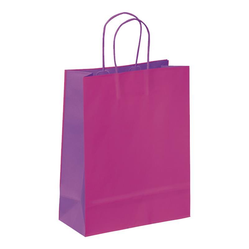 shopper in carta kraft fuxia-viola manico cordino