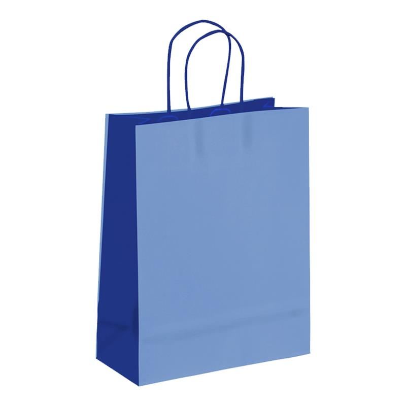shopper in carta kraft azzurro-blu manico cordino
