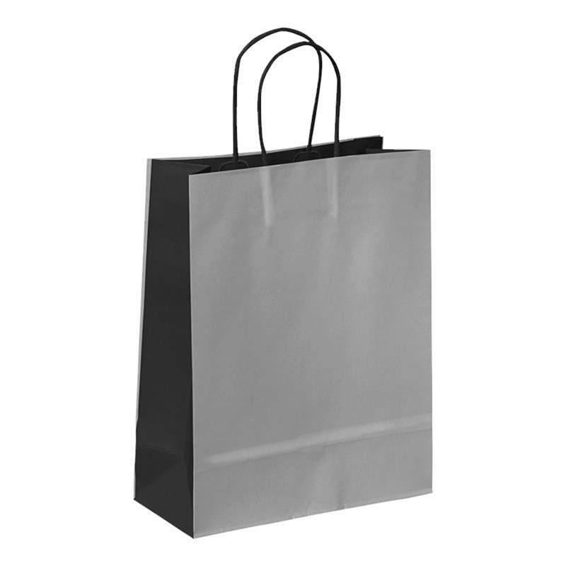 shopper in carta kraft grigio chiaro-grigio scuro manico cordino