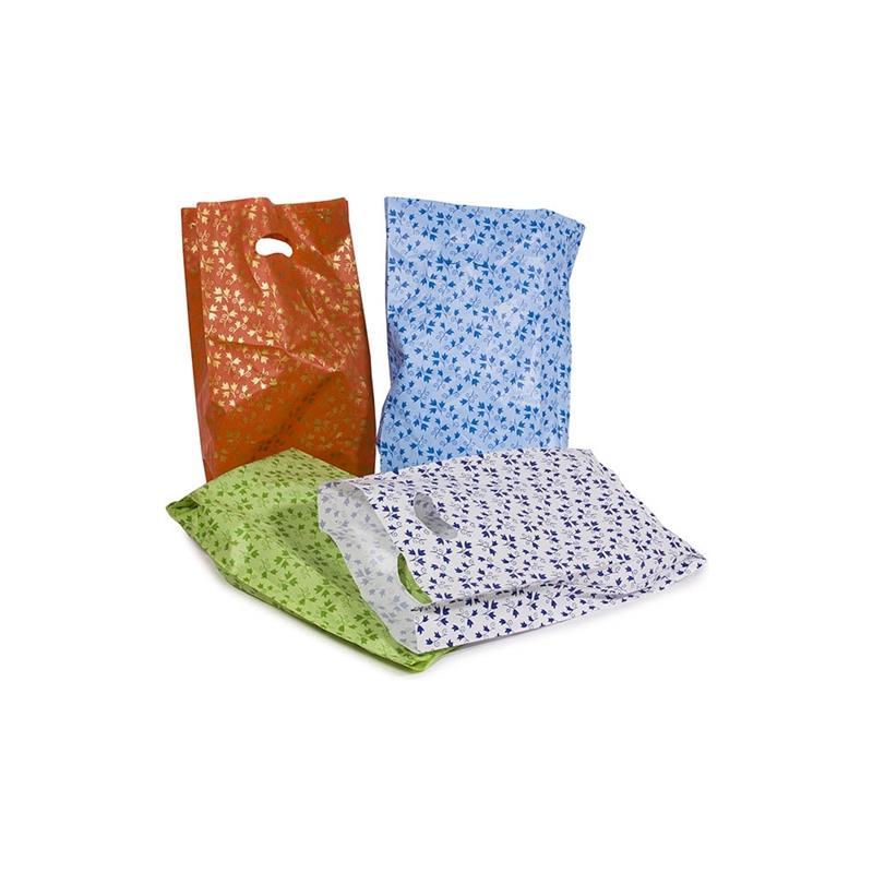 sacchetti in plastica con manico a fagiolo stampa a fantasia