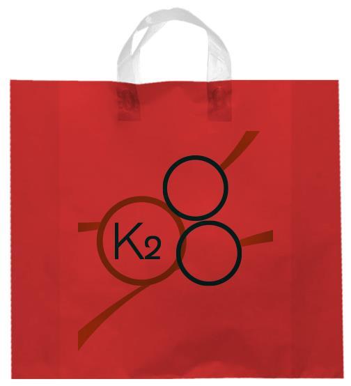 shopper plastica rossa con manico elettrosaldato soffietti laterali