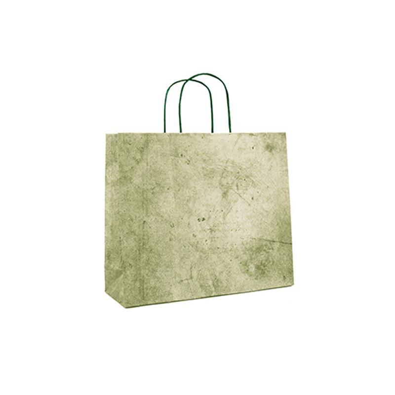 shopper in carta riciclata verde risvolto superiore cordino ritorto