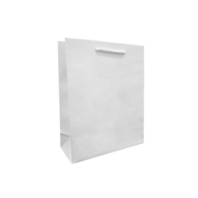 shopper bianca in carta in pasta goffrata corda cotone