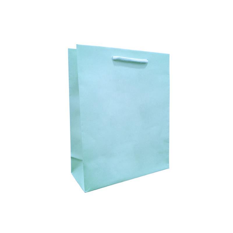 shopper celeste in carta in pasta goffrata corda cotone