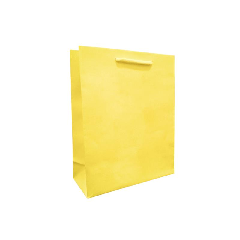 shopper giallo in carta in pasta goffrata corda cotone