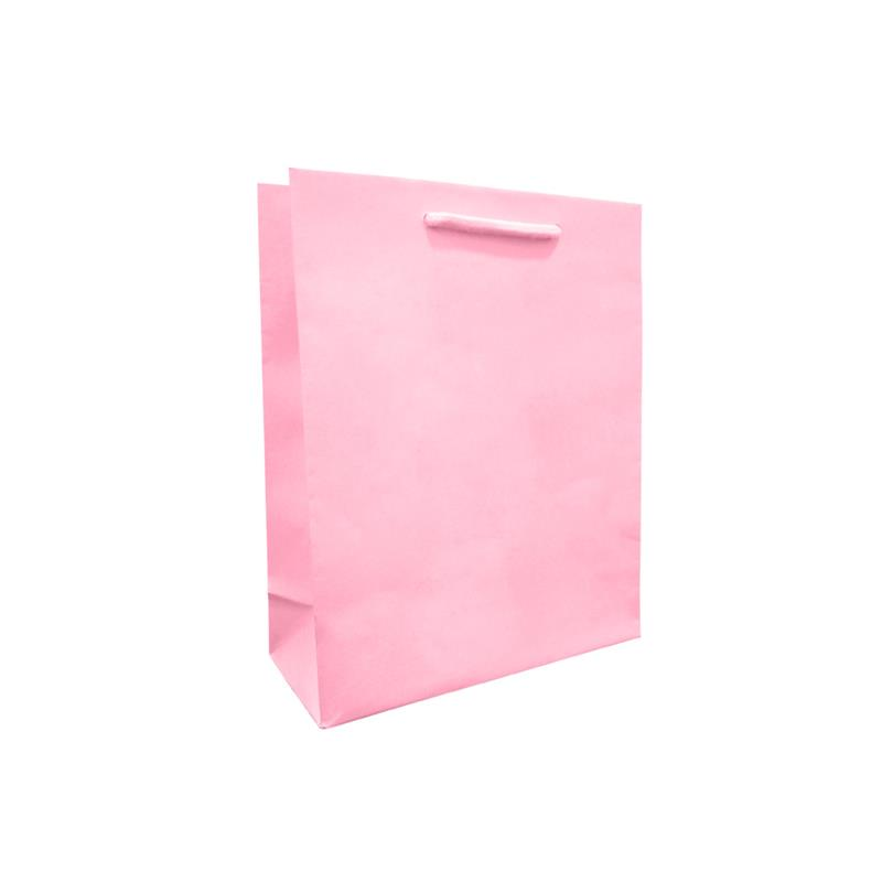 shopper rosa in carta in pasta goffrata corda cotone
