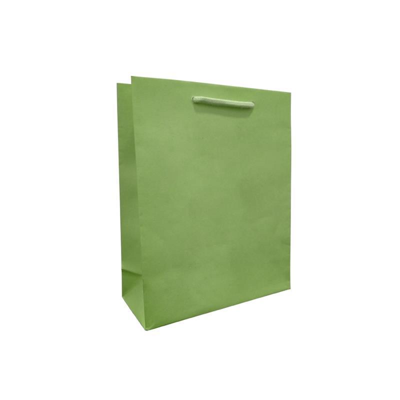 shopper verde in carta in pasta goffrata corda cotone