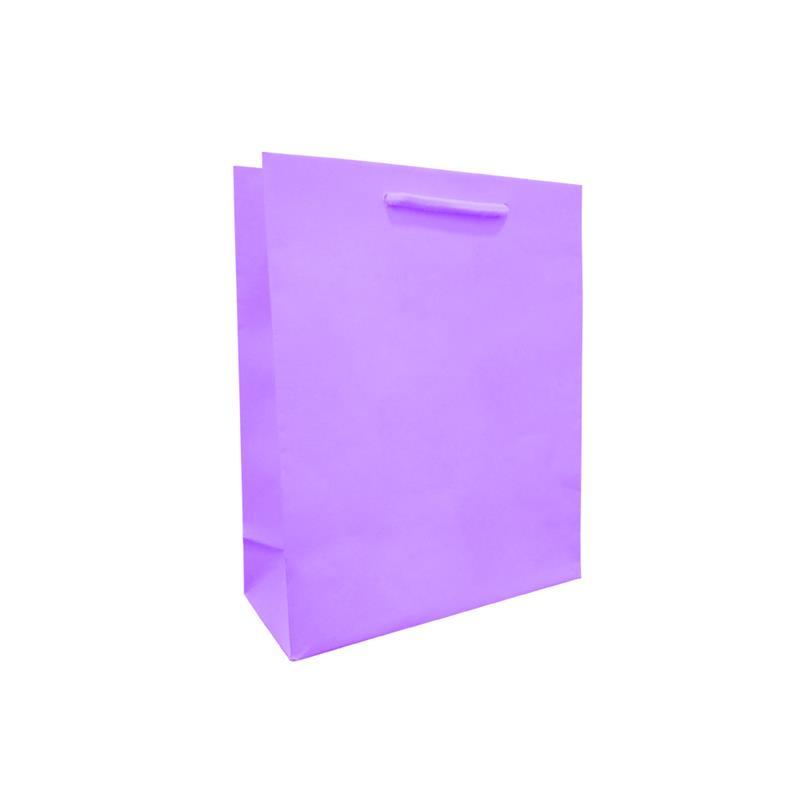 shopper viola in carta in pasta goffrata corda cotone