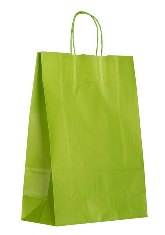 shopper in carta kraft verde manico cordino