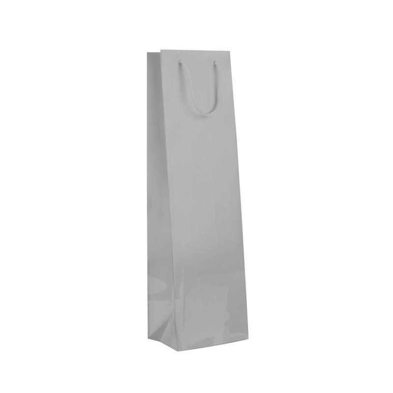 shopper in carta monopatinata argento plastificata lucida corda cotone