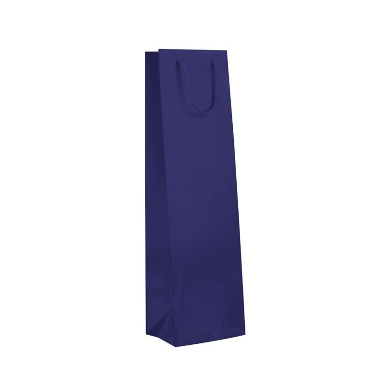 shopper in carta monopatinata blu plastificata lucida corda cotone